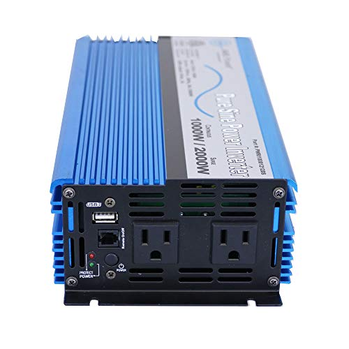 AIMS 1000 Watt, 2000 Watt Peak, Pure Sine DC to AC Power Inverter, USB Port, 2 Year Warranty, Optional Remote, Listed to UL 458