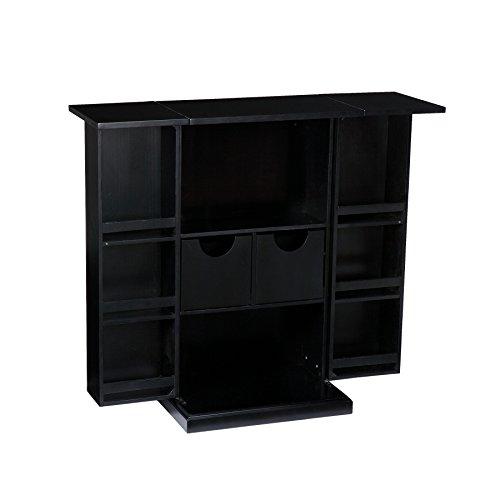 SEI Furniture Space Saving Fold Away Bar Cabinet, 22' W x 14' D x 39.25' H, Black