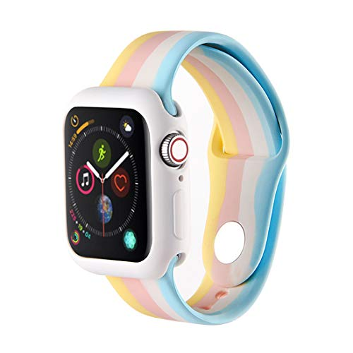 ZHANGHUI Smart Watch Bracelet Band Sport Multicolor Band Compatible with Apple Watch 38MM 40MM 42MM 44MM, Replaceable Silicone Accessory Strap Wristband,for iWatch SE Series 1/2/3/4/5/6 Women Men