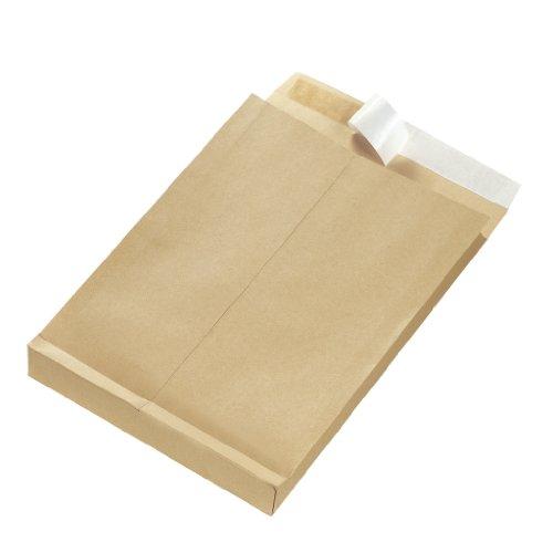 Herlitz 797506 Faltentasche B4 braun, 130 g/qm, 25 Stück eingeschweißt mit Haftklebung