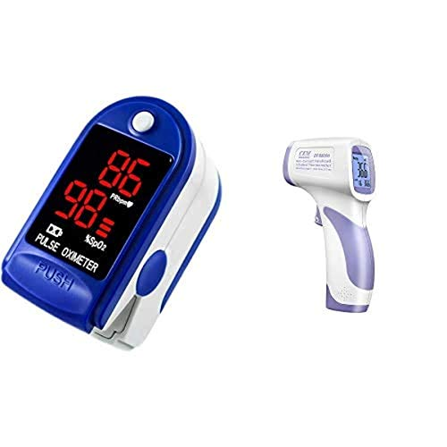 Contec Finger Tip Pulse Oximeter + CEM DT-8806H No Touch Infrared Thermometer