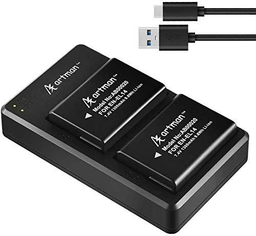 Artman 2-Pack EN-EL14 EN-EL14A Batteries and Dual Micro USB Charger for Nikon D5600, D3300, D3500, D5100, D5500, D3100, D3200, D5200, D5300, Coolpix, P7000, P7100 P7200, P7700, P7800(1300mAh)