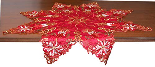 "EcoSol Designs Embroidered Table Topper Centerpiece (33.5"" Diameter, Red) Christmas Star"