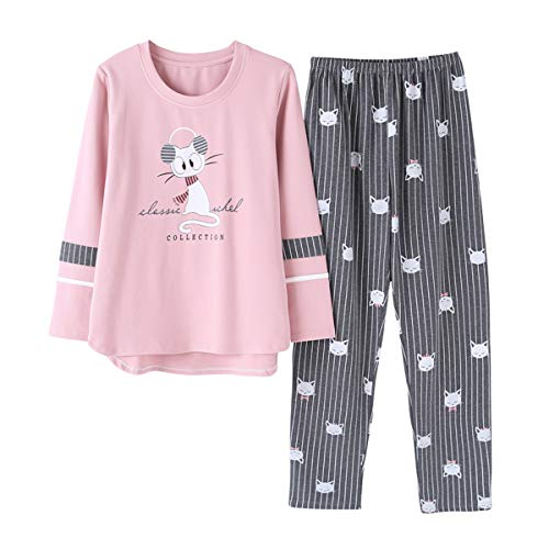 Vopmocld Big Girls Pajama Sets Long Sleeve Striped Lovely Cats Sleepwear 2 Piece PJS, Gray, L(14)=US 11-13 Years
