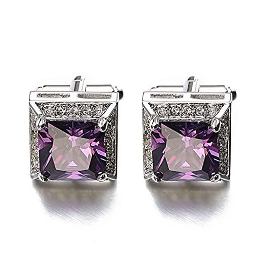 TJLSS Purple Zircon GAPLINKS Marca Crystal Groom Boda Puños Enlaces para Hombre con Elegancia Individual (Color : Purple, Size : As Shown)