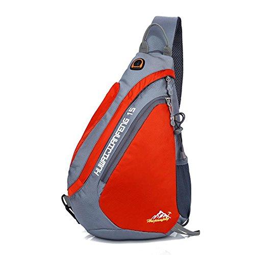 Sac de Poitrine Nylon tissu pique-nique équitation imperméable porter grande capacité dames hommes sacs Messenger Bag Sling bag , orange