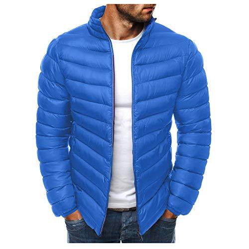 Herren Light Down Langarm Down Jacket Herren Jacke Sweater Classics Herren Daunenjacke Down Jacket gefütterte Steppjacke für Herbst und Winter (L, Blau)