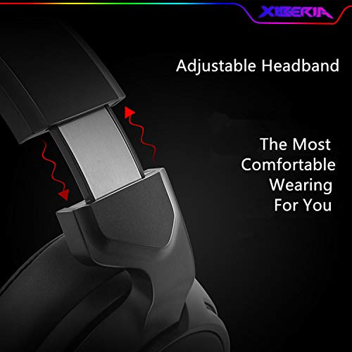 Mic and Soft Earmuffs Gaming Headphone for PC Laptop Desktop XIBERIA V20 Gaming Headset with USB Port and 7.1 Surround Sound LED Light