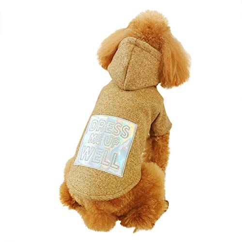 Kaiki Herbst und Winter Warm Hund Hundemantel Hoodies Hundejacke Sweatshirt für kleine MittelGroße Hunde (XL, Bhun)