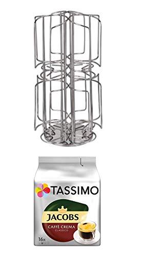 48 Kaffee Pods T-Disc Halter Bosch Tassimo Kapselspender Edelstahl drehbarer …+ Tassimo Jacobs Caffè Crema Classico