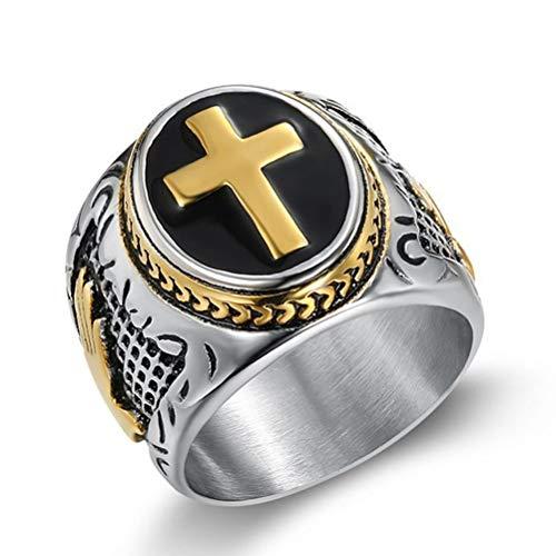 HIJONES Anillo de Sello de Cruz Cristiana para Hombre de Acero Inoxidable con Manos de Oración y Serpiente Oro Tamaño 25