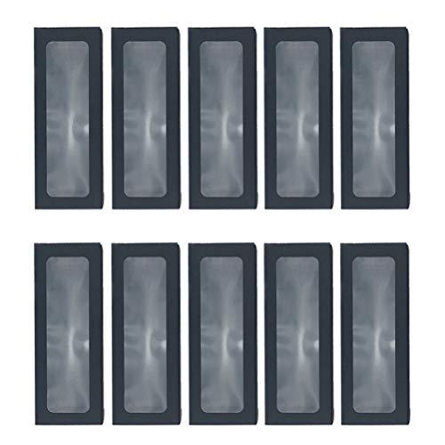 10 Unidades Caja de Panadería Negra con Ventana Rectangular Cajas de Tratamiento Largo Cajas de Pastelería Caja de Pastelería para Postre Dulces Chocolate Hornear Gadgets 25X9x6cm