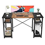 Foxemart Computer Desk 47' Office Desk with Storage Shelves, Industrial Student Study Writing Desk, Modern Work Desk for Home Office, Small Desk Gaming PC Table Workstation, Rustic and Black