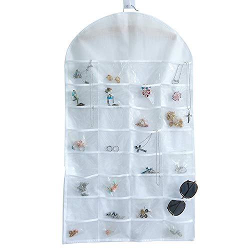 Maijia 1 organizador de joyas colgante con 32 bolsillos, 18 trabillas, doble cara, para armario, bolsa de almacenamiento con colgador para niñas y mujeres, anillos, collares, pulseras, pendientes