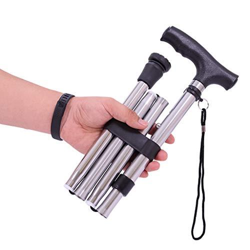 RUIVE Walking Stick Opvouwbare wandelstok, Verstelbaar Lopen, Met 5 Verstelbare Hoogten, Stick Comfortabele T-handgrepen, Laadlager 100 Kg