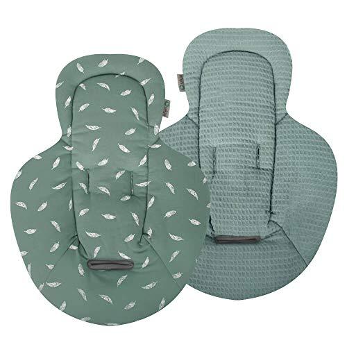 Ukje - Neugeboreneneinsatz kompatibel für Babywippe Mamaroo Jade Federn Waffelpiqué Und Öko-Tex Weiche Baumwolle 1 Stück Beidseitig verwendbar Maschinenwaschbar Angenehm Weich