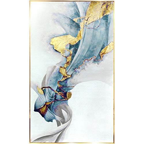 PUNGDUNK Pintado a Mano Puro Grueso al óleo Abstracta con Textura Oro Pintura al óleo del Arte Pop Abstracto Pintura sobre Lienzo de Sala de Estar (Color : White, Size (Inch) : 50X80cm)