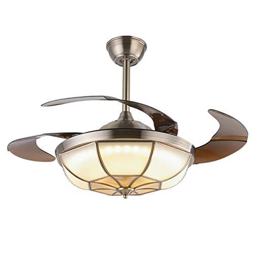 Ventilateurs de plafond avec lampe intégrée Lumière De Ventilateur De Plafond Télécommande LED Lumière De Ventilateur De Plafond Invisible Européenne Antique Cuivre Salon Ventilateur De Plafond Home F