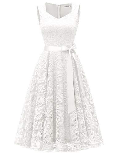 Gardenwed Damen Elegant Spitzenkleid Strech Herzform Abendkleid Cocktailkleider Partykleider White 2XL