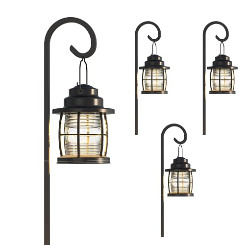 GOODSMANN Landscape Lighting Low Voltage Path Light 1.1 Watt LED Floodlight with Connector and Metal Stake for Outdoor Lighting Driveway, Yard, Lawn, Garden (4 Pack) 9920-4110-04
