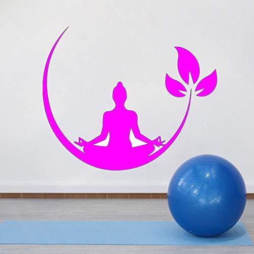 Ajcwhml Yoga Meditazione Adesivo murale Vinile Buddista Zen Adesivo murale Camera da Letto Adesivo murale Rimovibile Yoga Decorativo 紫色 30cm X 37cm