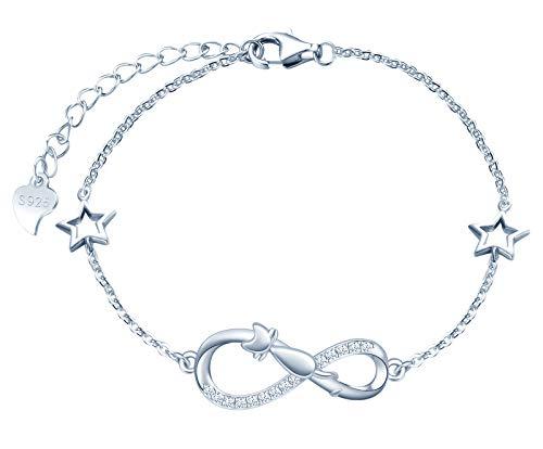 INFINIONLY Pulsera para mujer niña, pulsera de plata de ley 925, pulseras de símbolo de infinito...