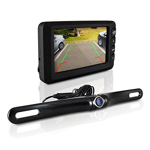 Wireless Rearview Backup Car Camera – Car Monitor System, Parking Reverse Safety Distance Scale Lines, Waterproof Night Vision Cam, 4.3 Screen Video Color Display for Vehicles by Pyle