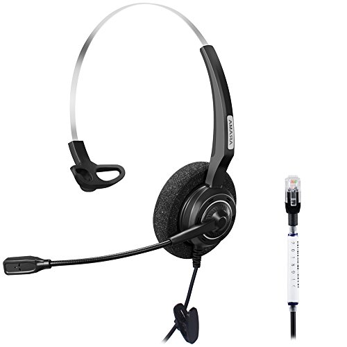 Arama Wired Headset Monaural with Noise Canceling Mic for Avaya 1616 9650 Cisco 7902 7912 Yealink T41 Snom 870 Grandstream GXP1400 Panasonic KXT Huawei C58 Zultys 37G IP Phones (A200Y1)