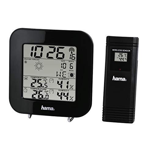 Hama Wetterstation Funk mit Außensensor inkl. Batterien (Wettervorhersage, misst Luftfeuchtigkeit, Innen- und Außentemperatur, Thermometer, Hygrometer, Barometer, Funkuhr, Wecker, Mondphasen) schwarz