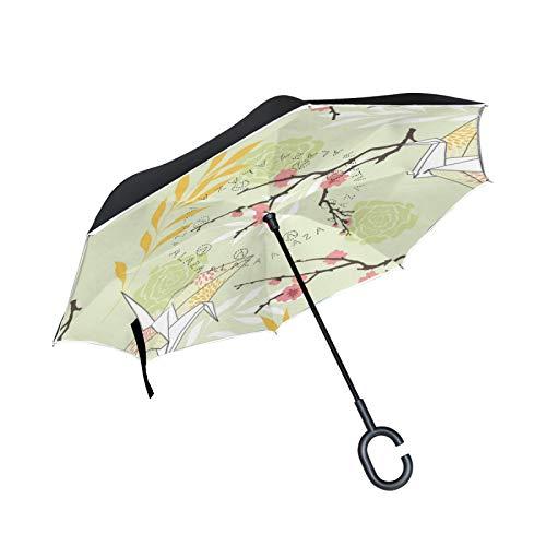 Paraguas invertido de Doble Capa, a Prueba de Viento, para Exteriores, para Lluvia, Sol, para automóvil, con Mango en Forma de C, Retro, grúa de Origami, Arte Retro