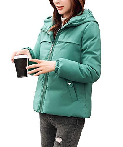 [ジョプリンアンドコー] シンプル ダウンジャケット きれいめ ベーシック 通勤 冬 ビックシルエット カジュアルダウン レディース冬服 大きめアウター ポケット付き フード付き 防寒着 レディースダウン ショート丈 ゆったり レディースファッション カジュアル あったか あたたかい アウター お出かけ ダウンショート丈 ウエア ウェア 長袖 オシャレ スマート 緑 緑色 グリーン XL