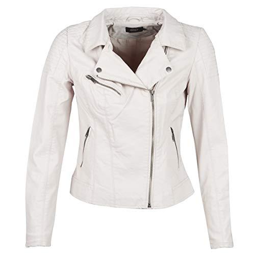 ONLY Damen onlFLORA Faux Leather Biker CC OTW Jeansjacke, Grau (Moonbeam), 38