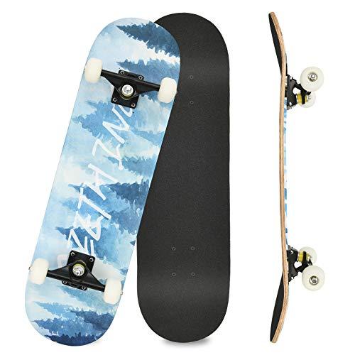 Komplettboard Skateboard 31x8 Zoll Cruiser Skateboard für Kinder Jugendliche Erwachsene, 7-Lagiger Kanadischer Double Kick Deck (Star)