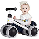 ALBION HOME Baby Balance Bikes 12-24 Month Children Walker, Push Bike Baby Ride On Bike for Boys and Girls, No Pedal Infant 4 Wheels Toddler Bicycle, Best Gift Indoor Outdoor (White)