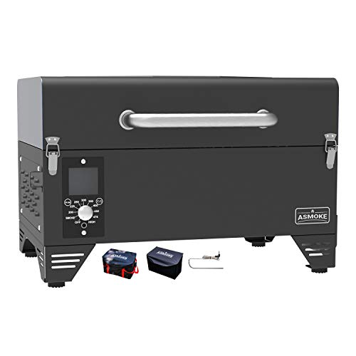 ASMOKE AS300 Electric Portable Wood Pellet Tailgating Tabletop Grill and Smoker w/ Carrying Bag, 256 Sq. in. Cooking Area, 8 in 1 BBQ Set, PID Control, Safe Certificated, Cinder Black