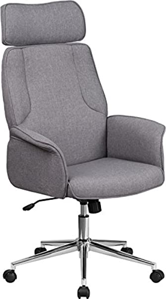 Emma Oliver High Back Gray Fabric Swivel Office Chair Fully Upholstered Arms