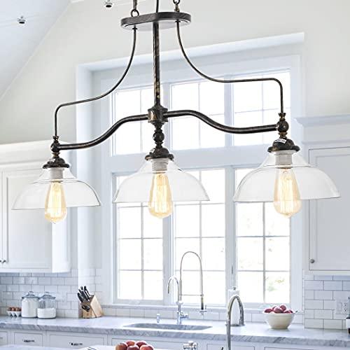 3 Lights Large Glass Pendant Light, Farmhouse Dining Room Chandelier Kitchen Lighting Fixture Over Island
