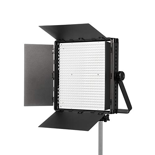 Fovitec Portable 600 LED Daylight Studio Panel with Barn Doors, 36W 5600K Color Temperature for Video and Photography - Includes DMX, V-Lock Mount, and Case