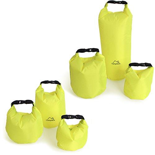 CampTeck 1.5L, 2.5L und 3.5L Dry Bag Tasche Wasserbeständige Lagerung Packsäcke Trockensack für Camping, Rafting, Angeln, Kanufahren, Bootfahren, Kajak Fahren, Snowboarden usw. - Neon Grün
