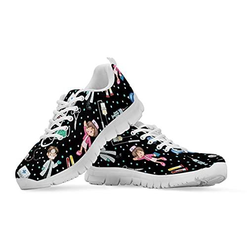 Coloranimal Zapatos de mujer para adultos para caminar, sin deslizamiento, zapatillas de deporte ligeras, Patrón de enfermera negro, 48 EU