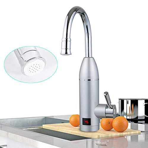 Jasemy 3KW Elektrisch Durchlauferhitzer Wasserhahn Sofort Warm Waschtisch Küche Drehbar Wasserhahn Küche Einhebelmischer Armatur Küchenarmatur Spültischarmatur Spülbecken