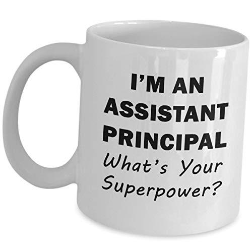 """Lustige Kaffeetasse mit Aufschrift """"I'm an Assistant Principal What Your Superpower"""", lustiger witziger Knebel-Schraubstock für Damen und Herren"""