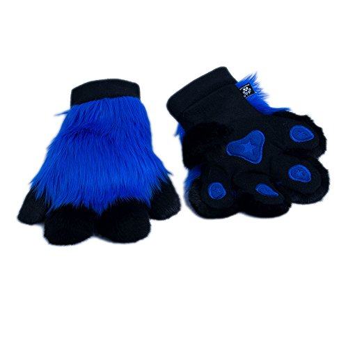 Pawstar Paw Mitts Furry Animal Hand Paws Costume Gloves Adults - Blue