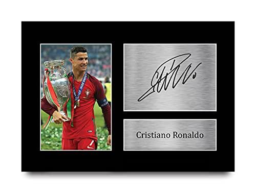 HWC Trading Cadeau Portugal Cristiano Ronaldo Handtekeningen A4 Printed Fotolijsten