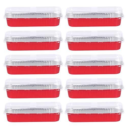 ZSZJ Accesorios de Bricolaje 10 unids 200 ml Cajas de cocción de Aluminio Rectangular de Aluminio Postre Molde para Hornear sartenes de Hornear Molde de Torta (Color : Red)