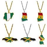 Anniyo Colorful Flags Nigeria Ghana Jamaica Guyana Maps Stainless Steel & Enamel Pendant Necklaces National Jewelry #122921