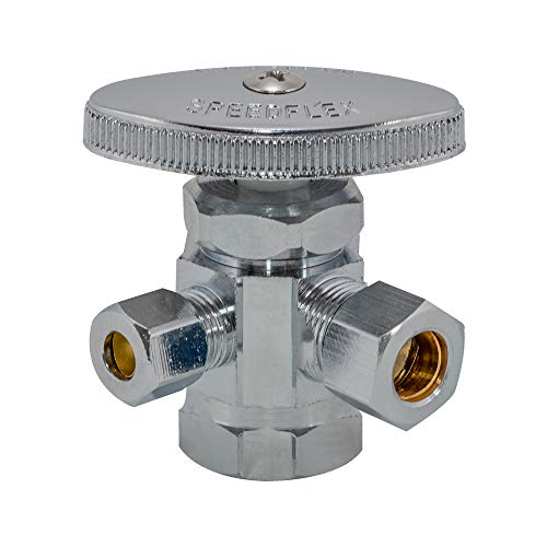 Eastman 04320LF Multi-Turn Dual Outlet 3-Way Shut-Iff Valve, 1/2 inch FIP x 3/8 inch Comp x 1/4 inch Comp, Chrome