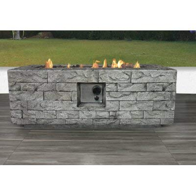 Cotton Life 42' Rectangular Natural Stone Fire Pit Table - Natural Stone - Pre Assembled