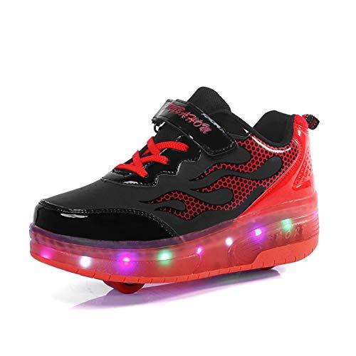 Good-time Kinder Junge Mädchen Led Schuhe Sneaker Mit Rollen 7 Farbe Farbwechsel Wheels Skate Schuhe(Doppelrad-Schwarz-Rot,28 EU)