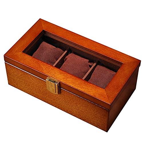 KMDJ Caja de Reloj de Madera, Organizador de Relojes con Almohadas, joyería bloqueable Mostrar Caja Organizador, Negro/marrón Exquisito Reloj de Reloj Reloj Caja de exhibición Caja de joyería para h